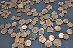 Närbildbild av mynt för eurocent Arkivfoton