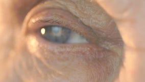 Närbilden av det blåa ögat av en kvinna åldrades 80-tal stock video