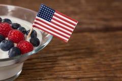Närbilden av fruktglass dekorerade med 4th det juli temat Royaltyfri Foto