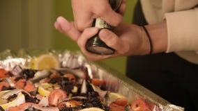 Närbilden av händer av en flicka på det hem- köket är salta, eller peppra en maträtt i en prodvin av en handbok mala Sunt lager videofilmer