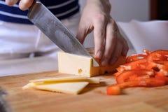 Närbilden av händer för hemmafru` s klippte produkter för att laga mat sund mat begreppet av matlagning, näring, icke-GMO Arkivfoto