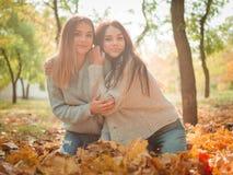 Närbilden av härliga flickor, kopplar samman systrar, i höst parkerar arkivbild