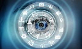Närbilden av kvinnaögat som använder multimedia, knyter kontakt tolkningen 3D Arkivbild