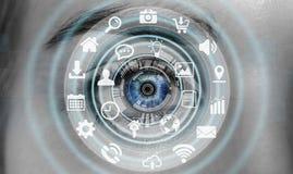 Närbilden av kvinnaögat som använder multimedia, knyter kontakt tolkningen 3D Royaltyfri Foto