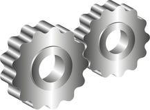 Närbilden av två stålkugghjul anknöt begreppet för förälskelse, familj, teamwork och partnerskap Royaltyfria Bilder