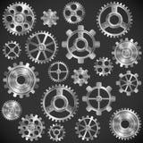 Närbilden av två stålkugghjul anknöt begreppet för förälskelse, familj, teamwork och partnerskap Royaltyfria Foton