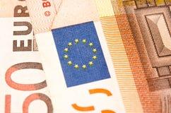 Närbilden för euro för sedelvalör femtio arkivbild
