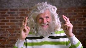 Närbilden korsade fingrar av den caucasian farfadern med vitt långt hår och lockiga skägget som står raka och att se stock video