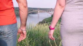 Närbilden rymmer händerna av en ung grabb och flicka, mot bakgrunden av en bro, floden, trädet, himmel arkivfilmer