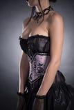 Närbilden sköt av en storbystad kvinna i elegant korsett Royaltyfri Bild