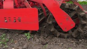 Närbilden traktorodlare odlar, gräver jorden Traktoren plogar f?ltet Automatiserad rorkult för att gräva jord in stock video