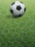 Närbildfotbollboll på grönt gräs fotografering för bildbyråer