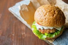 Närbildfoto av den hem- gjorda hamburgaren med nötkött, löken, tomaten, grönsallat, ost och kryddor Ny hamburgarecloseup på Royaltyfri Foto