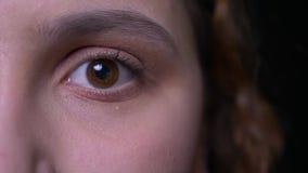 Närbildhalva-framsida stående av denhaired studenten för ung brunett som i stillhet blinkar och fast och håller ögonen på in i ka lager videofilmer