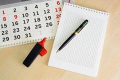 Närbildkalender begreppsplanläggningen, räknar dagarna, tidledning Arkivbilder
