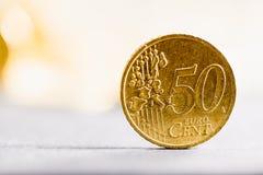 Närbildmakro till 50 det eurocent myntet Royaltyfri Fotografi