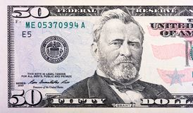 Närbildsikt av en räkning för kassa för 50 dollarFörenta staterna arkivfoto