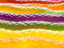Närbildsikt av färgrik orm formade gelégodisar royaltyfria bilder