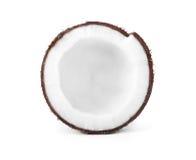 Närbildsikt av kokosnöten, på vit bakgrund Exotisk stor kokosnöt Kokosnötkärnastor bit Arkivbild