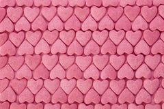 Närbildsikt av rosa färgsockerhjärtor Royaltyfri Foto