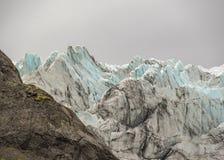 Närbildsikt på den Vatna glaciären, Vatnajokull nationalpark, sydliga Island, Europa arkivbild
