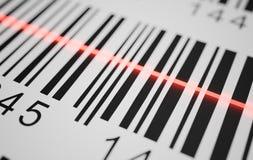 Närbildsikten på röd laser avläser etiketten med barcoden på produkt framförd illustration 3d royaltyfri illustrationer