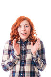 Närbildstående av den förvånade härliga flickan Över vitbakgrund Royaltyfri Foto