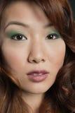 Närbildstående av den härliga kinesiska kvinnan fotografering för bildbyråer