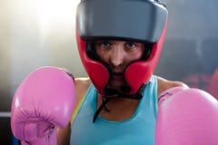 Närbildstående av den kvinnliga boxaren som bär den skyddande huvudbonaden fotografering för bildbyråer