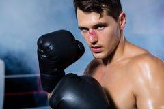 Närbildstående av den manliga boxaren med den blödande näsan royaltyfri bild