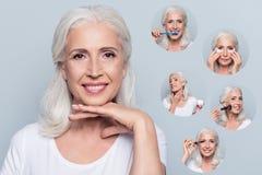 Närbildstående av den trevliga charmiga innehavhanden för gammal kvinna under salong för stråla leende för hud för haka ren klar  fotografering för bildbyråer