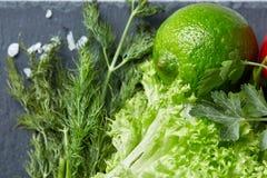 Närbildstilleben av blandade nya grönsaker och örter på vit texturerade bakgrund, den bästa sikten, selektiv fokus Arkivfoton