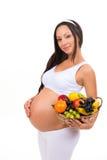 Näring av gravida kvinnor Vitaminfruktkorg arkivfoton