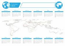 Näringslivkalender 2019 i blått tema royaltyfri illustrationer