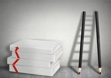 Näringslivsutvecklingbegrepp, bokmellanrum och stege från blyertspennan fotografering för bildbyråer