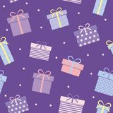 Närvarande ask för sömlös gåva för modell purpurfärgad för födelsedagparti vektor illustrationer