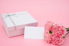 Närvarande ask och rosa nejlikor med ett tomt kort Royaltyfri Bild