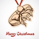 Närvarande askpappersetikett nytt år för jul Royaltyfri Bild