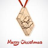 Närvarande askpappersetikett nytt år för jul Arkivfoton