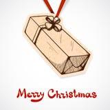 Närvarande askpappersetikett nytt år för jul Arkivbild