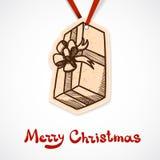 Närvarande askpappersetikett nytt år för jul Fotografering för Bildbyråer