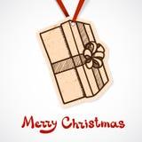 Närvarande askpappersetikett nytt år för jul Royaltyfria Bilder