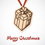 Närvarande askpappersetikett nytt år för jul Arkivbilder