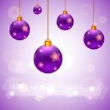 Närvarande kort för vektor med julbollar Royaltyfri Foto