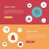Närvarande plana symboler, service, köp och andra vektorbeståndsdelar Royaltyfria Bilder