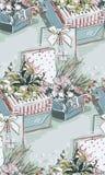 Närvarande vektor för modell för nytt år för gåvajul blå rosa sömlös texturerad målarfärg royaltyfri illustrationer