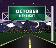 Nästa utgång - oktober royaltyfri illustrationer