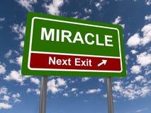 Nästa utgångstecken för mirakel Arkivbilder