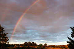 Nästan dubbel regnbåge Arkivfoto