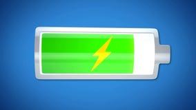 Nästan färdigt batteri som laddar, energiförsörjning, kort lifespan av elektronik arkivbild